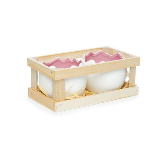 Guloseima - Caixa com 02 Meio Ovos de Cerâmica Grande Rosa - 04 Jogos
