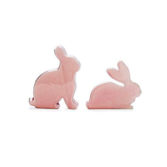Coelhos Decorativo Rosa Claro ( Guloseima ) - 2 Jogos com 2 Peças