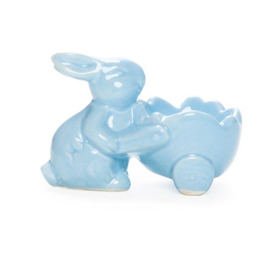Guloseima - Porta-Ovo com Coelho de Cerâmica Azul - 04 Un
