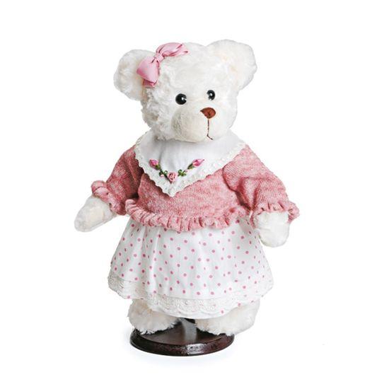 Mil Folhas Ursa Vestido Poá e Blusa Rosa em Branco Grande - 2 Un
