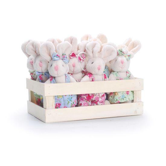 Mini Box Ções em Pé Floral Rosa e Azul Verde - 12 Un