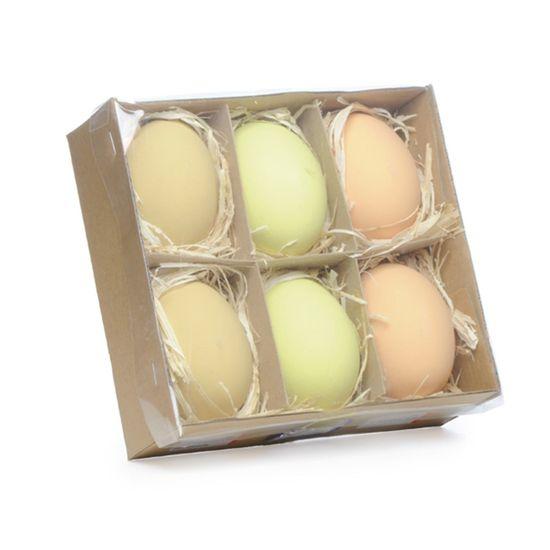 Picolé - Caixinha com 06 Ovos Decorados 6cm Bege/Amarelo/Marrom - 04 Jogos
