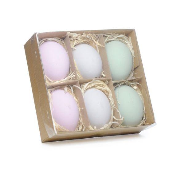 Picolé - Caixinha com 06 Ovos Decorados 6cm Lilás/Azul/Cinza - 04 Jogos