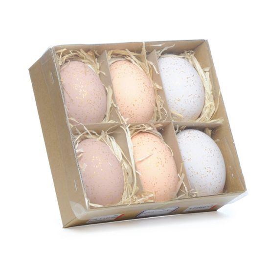 Picolé - Caixinha com 06 Ovos Decorados 6cm Marrom/Lilás/Coral - 04 Jogos