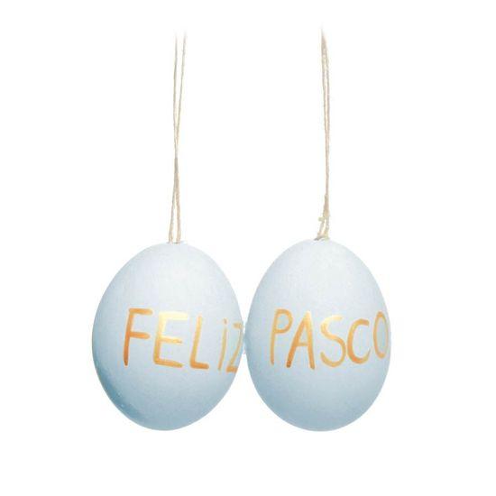 Ovos Feliz Páscoa Galinha Azul Claro e Ouro ( Picolé ) - 4 Jogos com 6 Peças