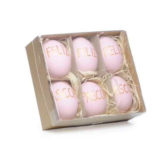Picolé - Caixinha com 06 Ovos Feliz Páscoa 6cm Rosa/Ouro - 04 Jogos