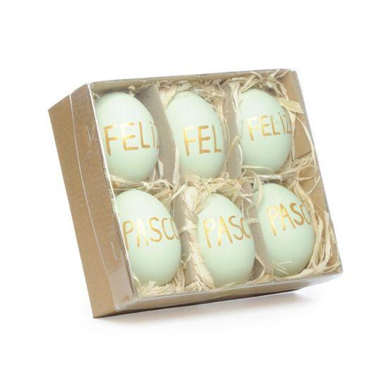Picolé - Caixinha com 06 Ovos Feliz Páscoa 6cm Verde/Ouro - 04 Jogos