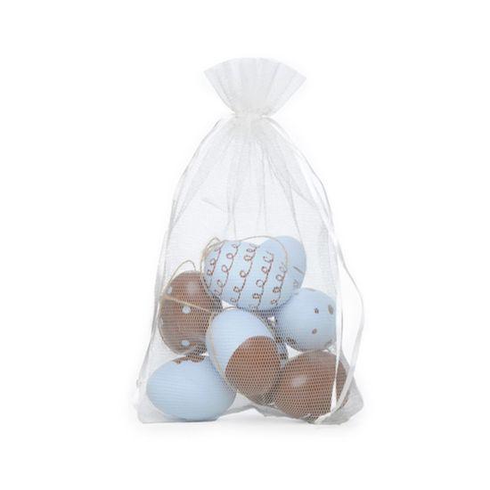 Picolé Ovos Decorados Azul e Marromm Tamanho Galinha - 9 Un