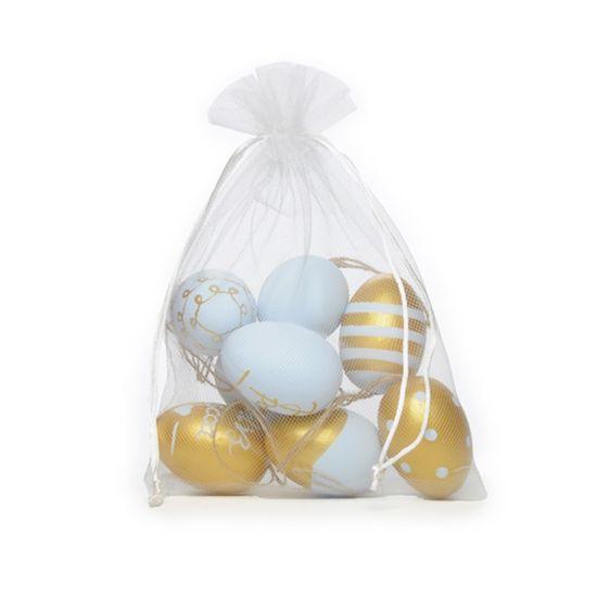 Picolé Ovos Decorados Azul e Ouro Tamanho Galinha - 9 Un