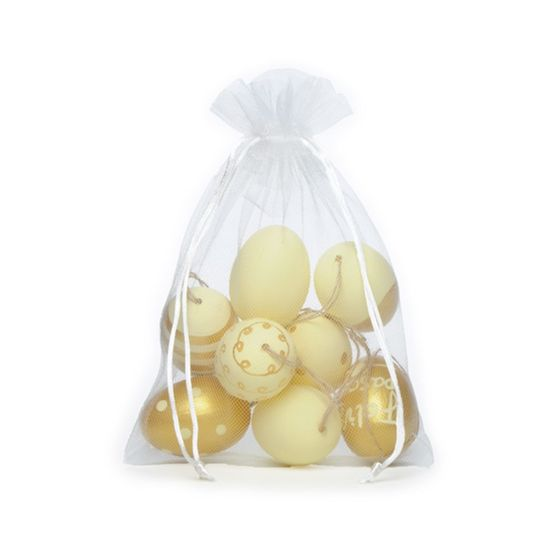 Picolé - Saquinho de Tule com 09 Ovos Decorados 6cm Marfim/Ouro - 04 Jogos