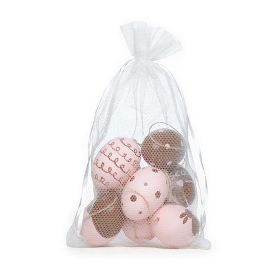 Picolé - Saquinho de Tule com 09 Ovos Decorados 6cm Rosa/Marrom - 04 Jogos