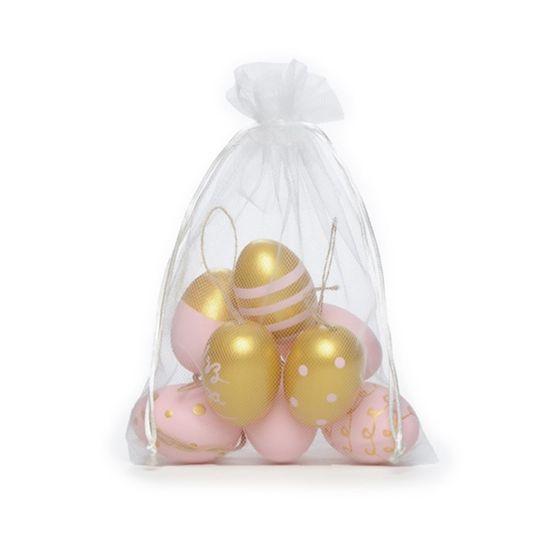 Ovos Decorados Galinha Rosa Claro e Ouro ( Picolé ) - 4 Jogos com 9 Peças