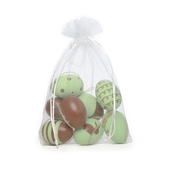 Picolé - Saquinho de Tule com 09 Ovos Decorados 6cm Verde/Marrom - 04 Jogos