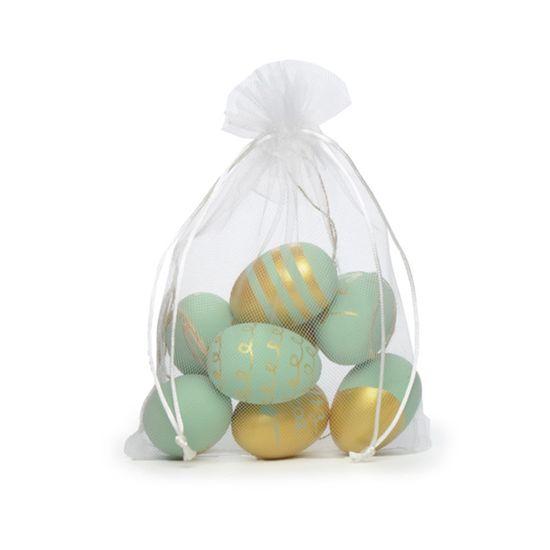 Picolé - Saquinho de Tule com 09 Ovos Decorados 6cm Verde/Ouro - 04 Jogos