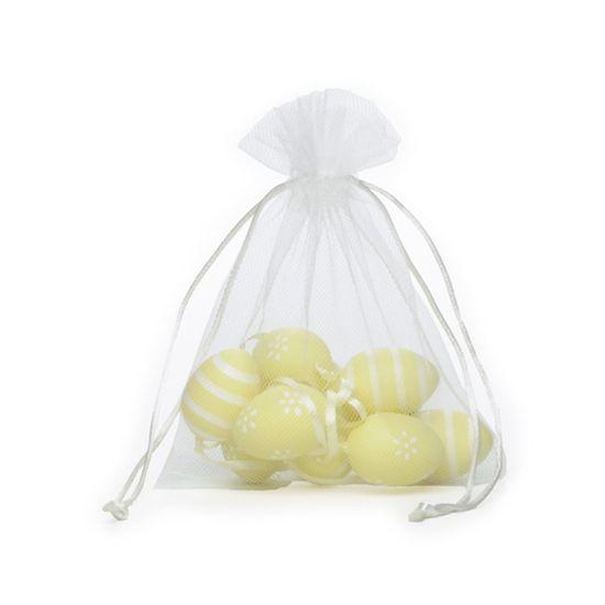 Picolé - Saquinho de Tule com 09 Ovos Listras e Flor 4cm Amarelo - 04 Jogos