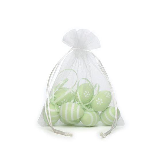Picolé - Saquinho de Tule com 09 Ovos Listras e Flor 4cm Verde - 04 Jogos