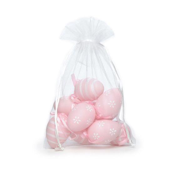 Picolé - Saquinho de Tule com 09 Ovos Listras e Flor 6cm Rosa - 04 Jogos