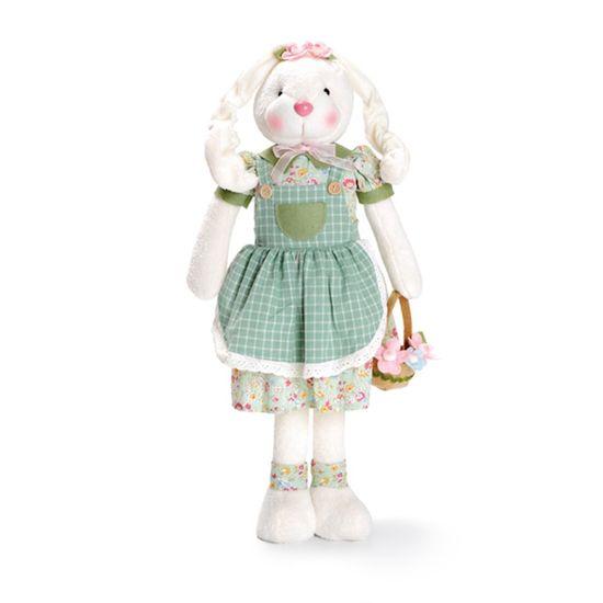 Pistache - Coelha em Pé Segurando Cesta de Flores 54cm Verde/Rosa - 02 Un