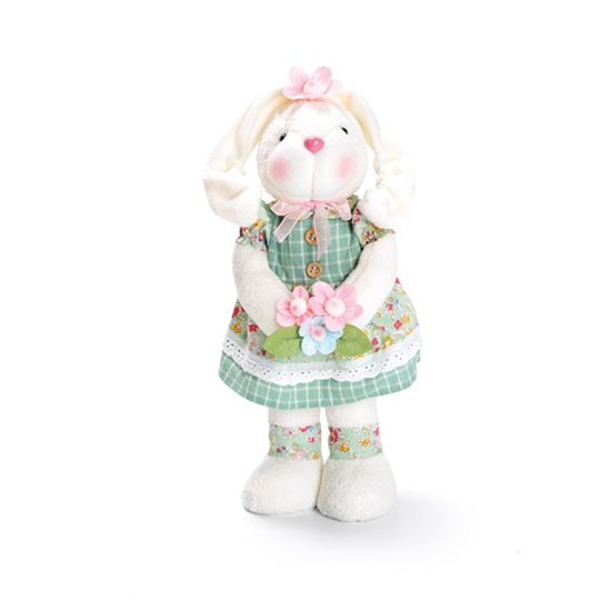 Pistache - Coelha em Pé Segurando Flores 30cm Verde/Rosa - 02 Un