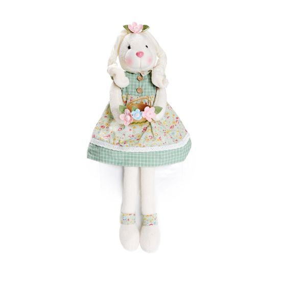 Pistache - Coelha Sentada Segurando Cesta de Flores 52cm Verde/Rosa - 02 Un