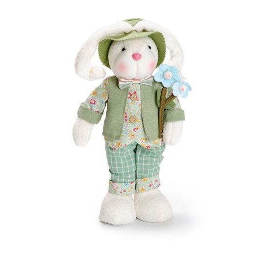 Pistache - Coelho em Pé Segurando Flores 30cm Verde/Rosa - 02 Un
