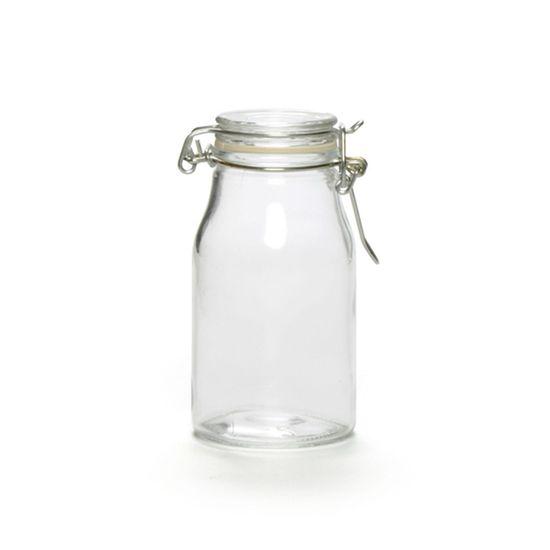 Potinhos de Vidro - Pote Leiteira Tampa Hermética 180ml Transparente - 48 Un