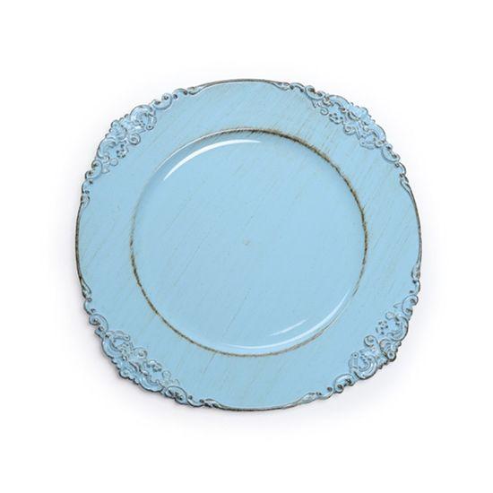 Sousplat Ornamentado Azul Claro ( Bandejas e Sousplats ) - 6 Un