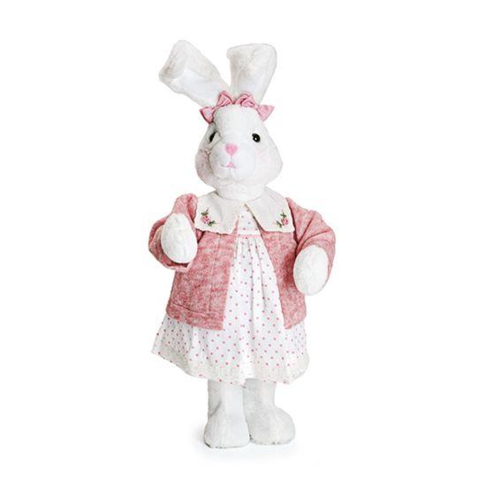 Mil Folhas Coelha Vestido Poá e Casaquinho Rosa em Branco Médio