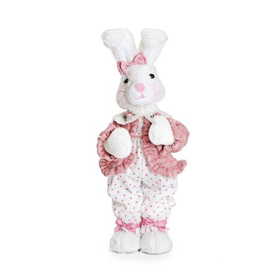 Coelha Macacão Poá Rosa Claro e Branco ( Mil Folhas )