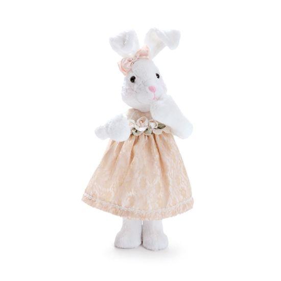 Coelha Pelúcia Branco e Marrom Marfim Tamanho Médio ( Mil Folhas )