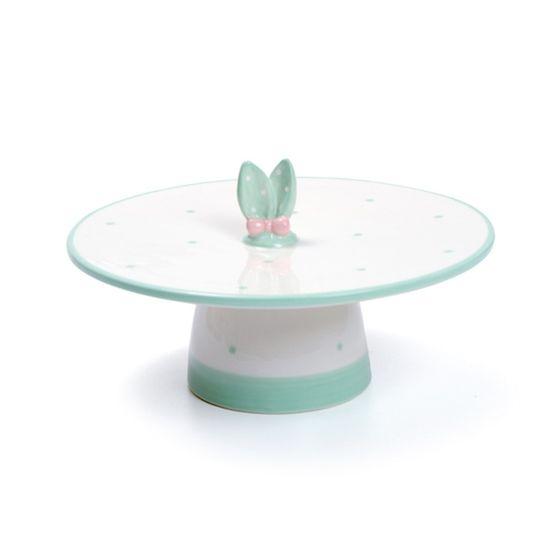 Guloseima - Bailarina de Cerâmica com Orelhas de Coelho Branco e Verde