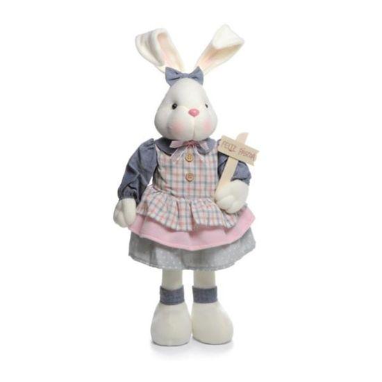 Gelato Coelha em Pé Azul e Rosa Placa Feliz Páscoa