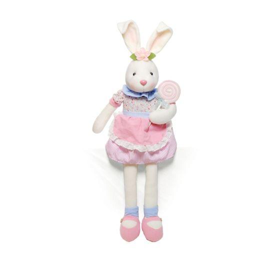 Coelha Sentado Vestido Floral Múltiplo ( Candy Corn )