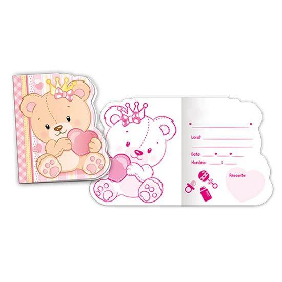 Convite Baby Ursinha Menina - 08 Un