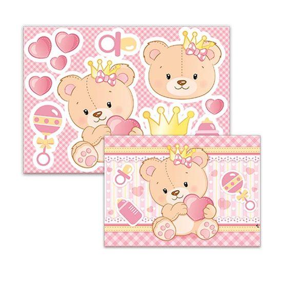 Kit Decorativo Cartonado Baby Ursinha Menina