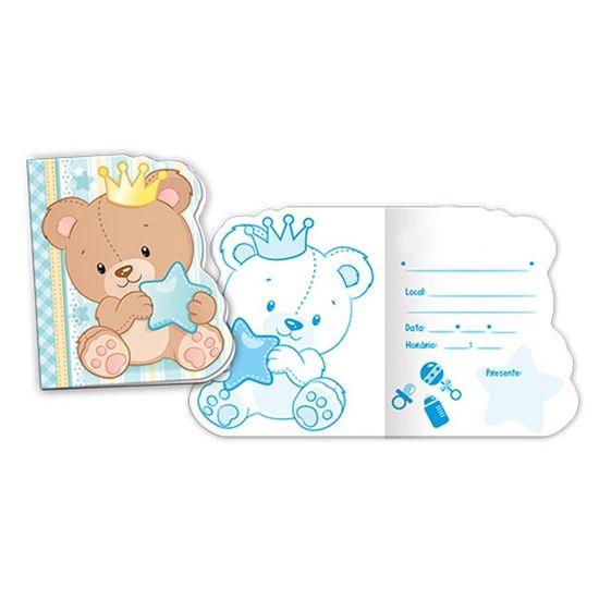 Convite Baby Ursinho Menino - 08 Un