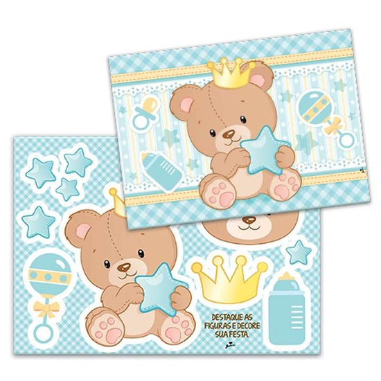 Kit Decorativo Cartonado Baby Ursinho Menino