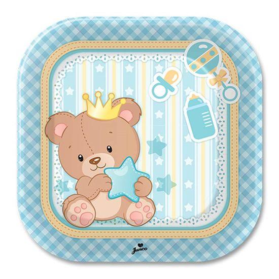 Prato Descartável Baby Ursinho Menino - 08 Un