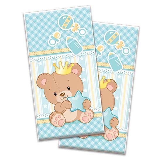 Sacola Plástica Baby Ursinho Menino - 08 Un
