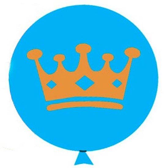 Balão Coroa com Glitter nº 11 (28cm) Azul - 12 Un