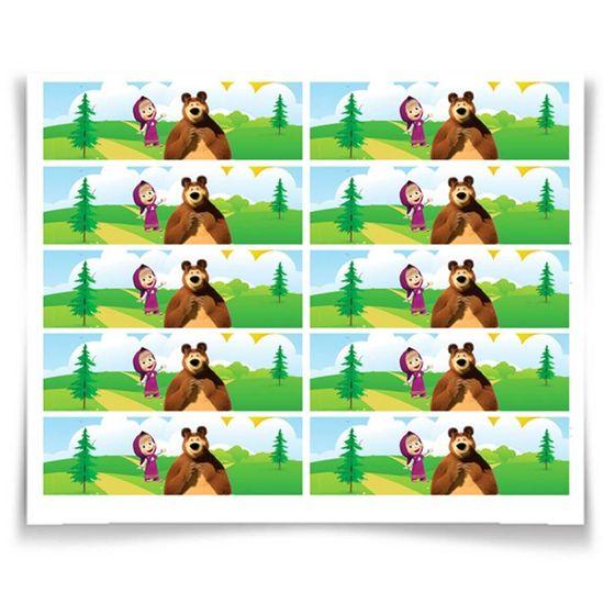 Festa Masha e o Urso - Adesivo Especial Retangular Masha e o Urso - 20 Un