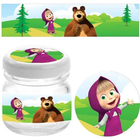 Festa Masha e o Urso - Kit Adesivo Especial para 10 Potinhos - Masha e o Urso
