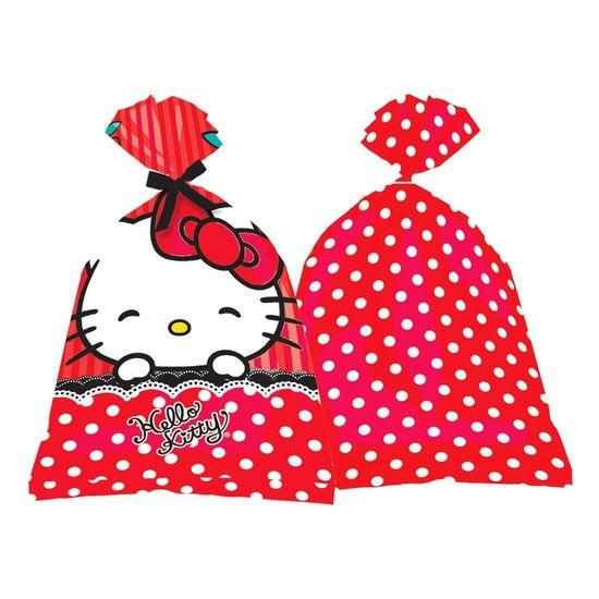 Festa Hello Kitty - Sacola Plástica Hello Kitty Poá - 08 Un