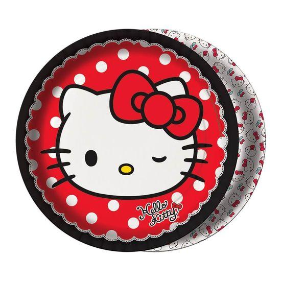 Festa Hello Kitty - Prato Descartável Hello Kitty Poá - 08 Un