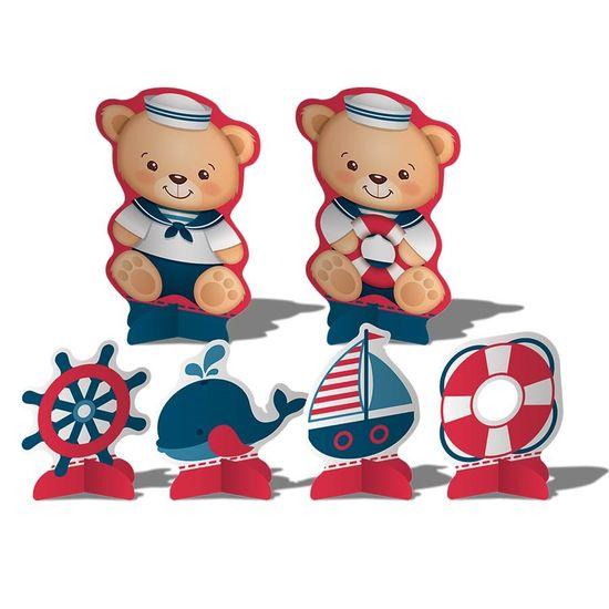 Festa Ursinho Marinheiro - Decoração de Mesa Cartonada Navy Ursinho Marinheiro - 08 Un