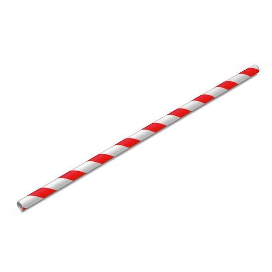 Canudo de Papel Listrado Vermelho - 20 unidades