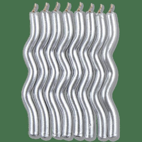 Vela Palito Zig Zag Metalizado Prata - 08 Un