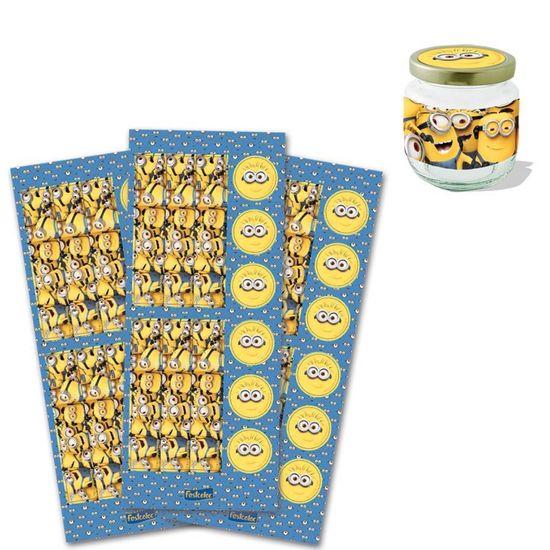 Festa Minions - Kit Adesivo para 18 Potinhos - Minions