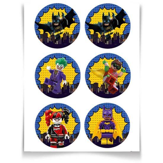 Festa Lego Batman - Adesivo Especial Redondo Lego Batman - 12 Un