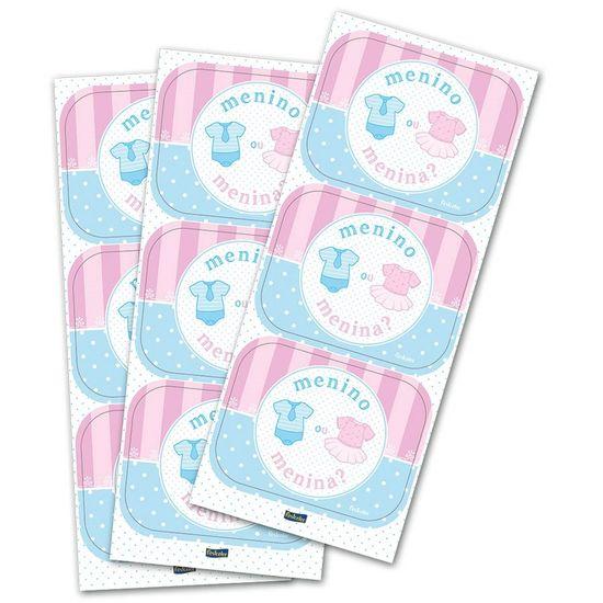 Adesivo Retangular Chá de Revelação Festcolor - 04 cartelas